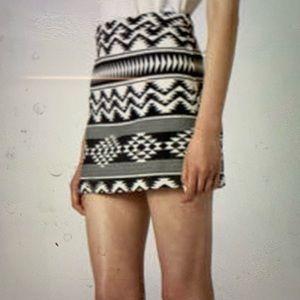 TopShop Aztec black and white print mini skirt